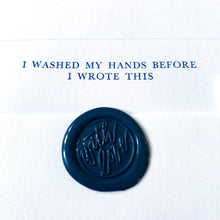 Load image into Gallery viewer, Dark Blue 'I Washed My Hands Before I Wrote This' Writing Set