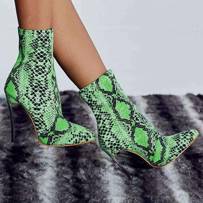 Bottines Imprimé Serpent Vert | Univers Serpent