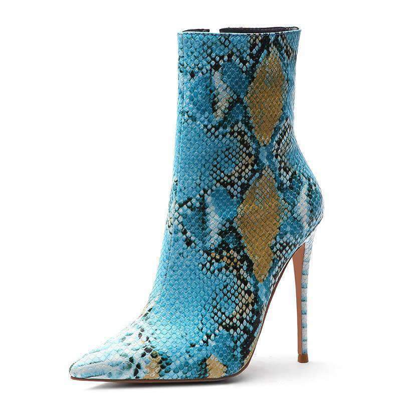 Bottines Python Bleue | Univers Serpent