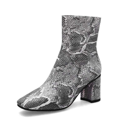 Bottines Python Gris | Univers Serpent