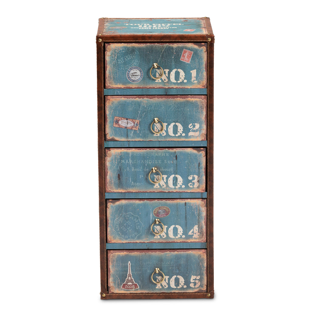 Alba Vintage Rustic French Inspired Blue Finished Wood 5 Drawer Accent English Elm