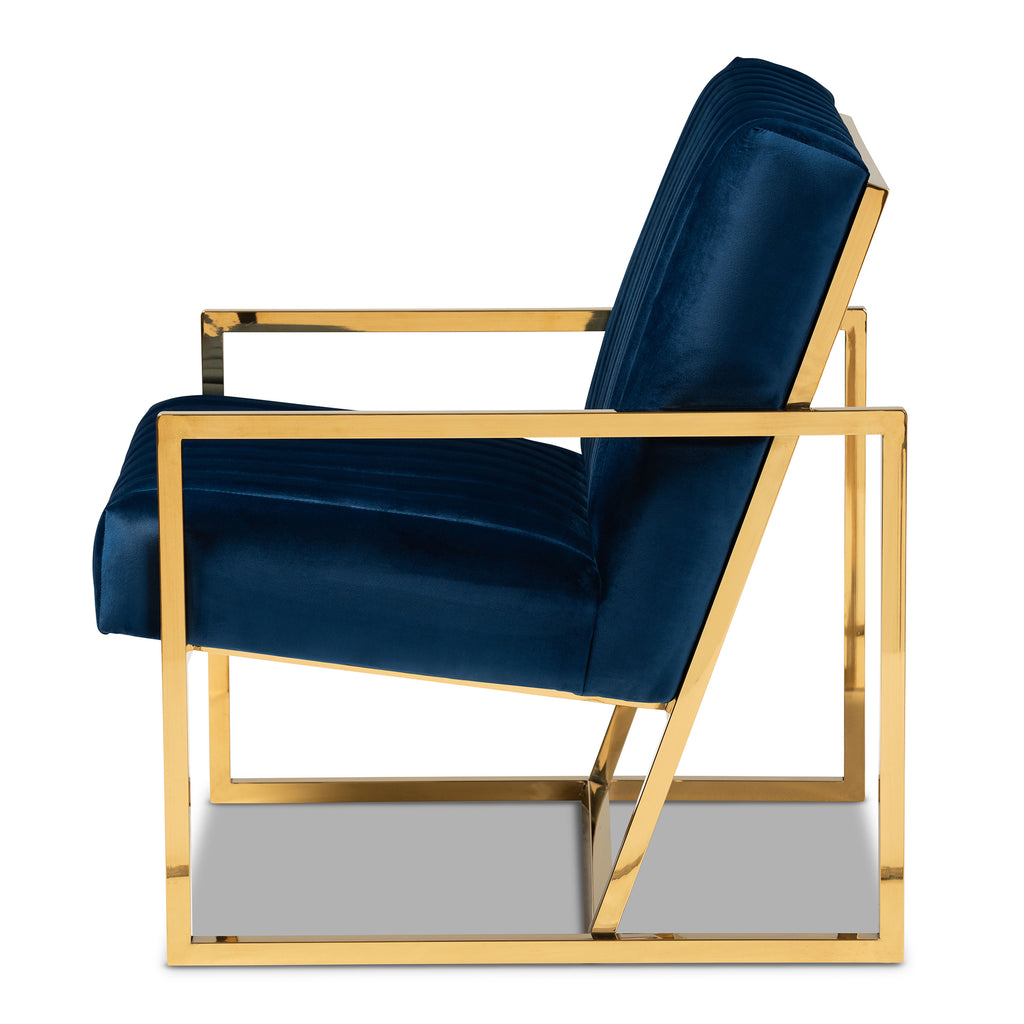Janelle Luxe And Glam Royal Blue Velvet Fabric Upholstered And Gold Fi English Elm
