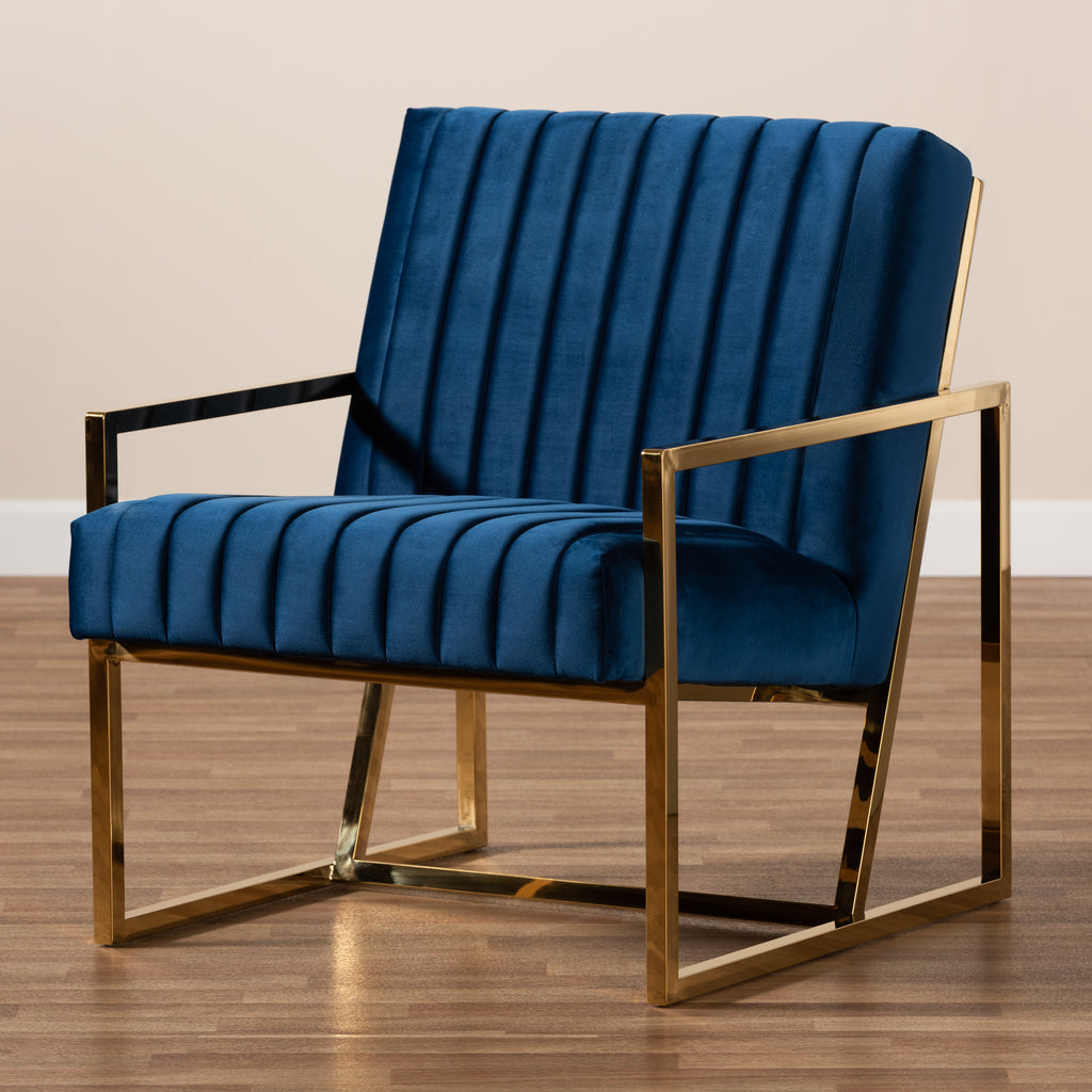 Picture of: Janelle Luxe And Glam Royal Blue Velvet Fabric Upholstered And Gold Fi English Elm