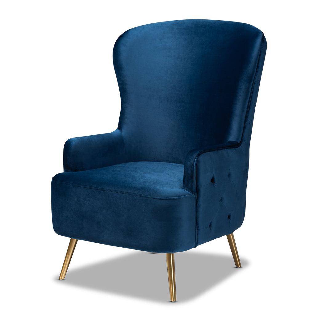 Picture of: Melissa Luxe And Glam Royal Blue Velvet Fabric Upholstered And Gold Fi English Elm