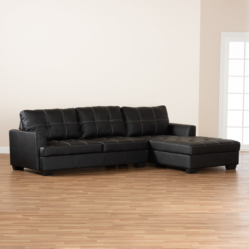 Baxton Studio Modern and Contemporary Dobson Black Leather Modern Sectional Sofa with White Stitching
