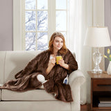 Heated Snuggle Casual 100% Polyester Solid Microlight To Berber Wrap