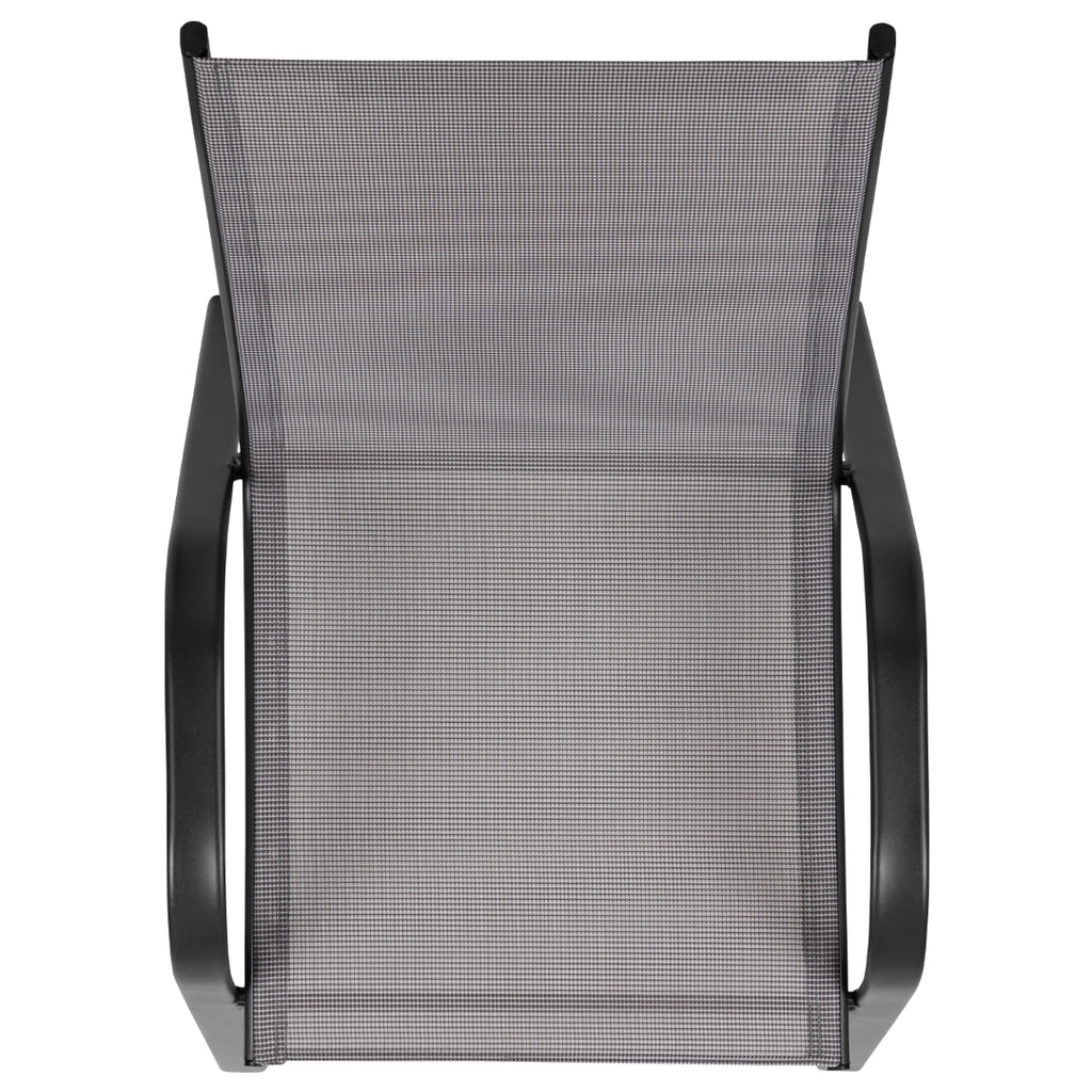 4 Pack Brazos Series Outdoor Stack Chair with Flex Comfort Material and Metal Frame
