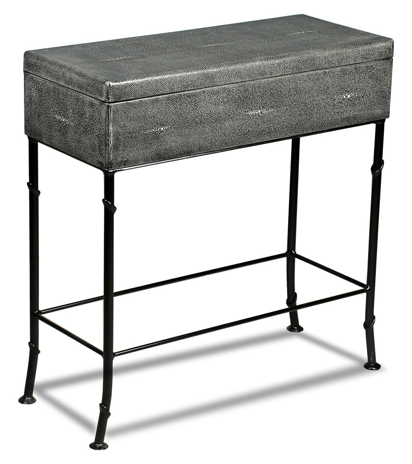 Sarreid Shagreen Box Stand Contemporary Black Grey Iron Leather Marble 40470 795806290174