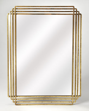 Uptown Reflections Antique Gold Transitional Gold Rectangular Wall Mirror 4436226