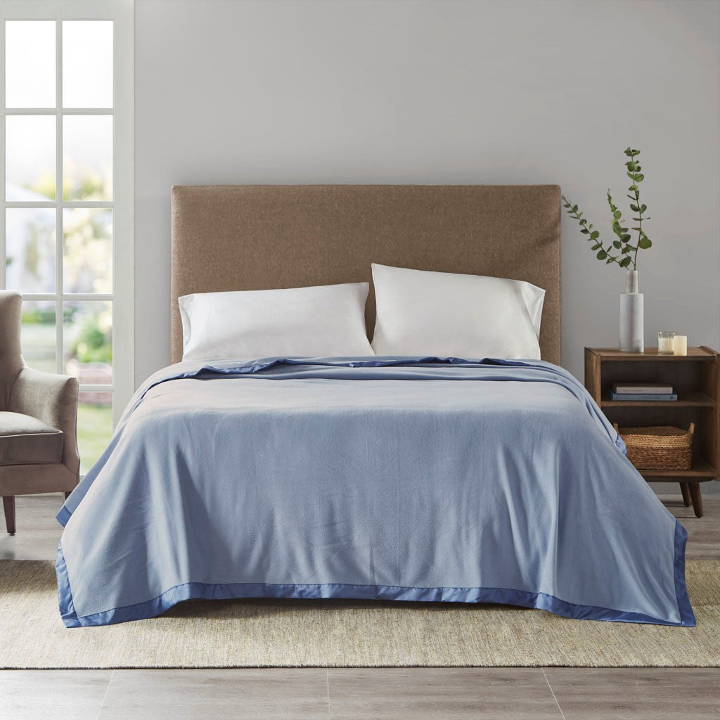 "True North by Sleep Philosophy Micro Fleece Casual 100% Polyester Knitted Blanket W/ 2"" Matte Satin Binding BL51-0523"