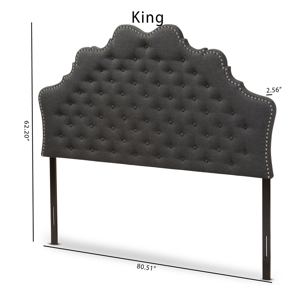 Baxton Studio Hilda Modern and Contemporary Dark Grey Fabric King Size Headboard