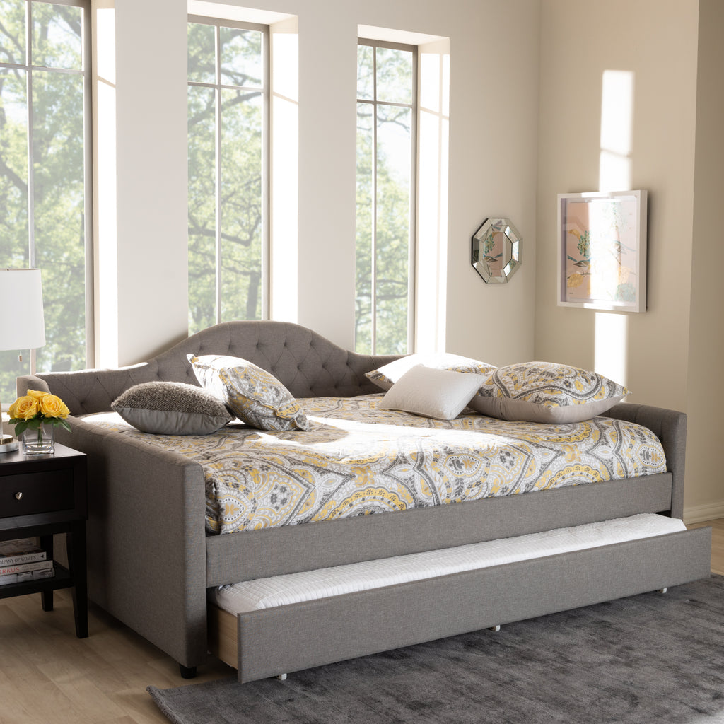 - Eliza Modern Contemporary Fabric Upholstered Queen Size Daybed