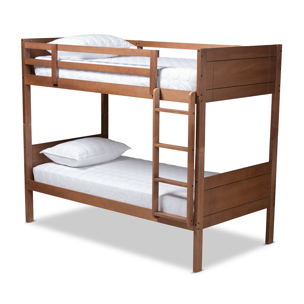 Picture of: Elsie Modern Contemporary Wood Twin Size Bunk Bed English Elm