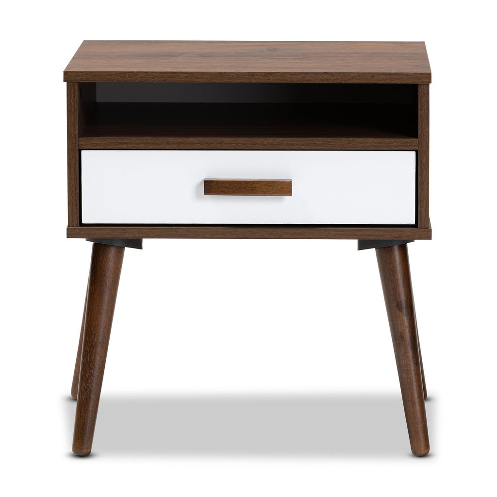Quinn Mid Century Modern Two Tone White And Walnut Finished 1 Drawer W English Elm
