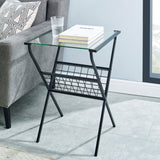 "17"" Modern Metal & Glass Side Table with Magazine Holder - Black"