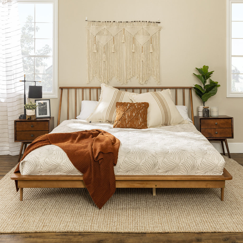 Picture of: King Mid Century Modern Solid Wood Spindle Platform Bed English Elm