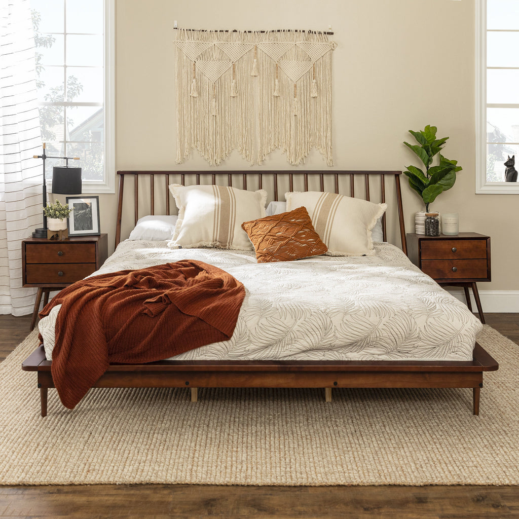 Gold Glass Dining Table, King Mid Century Modern Solid Wood Spindle Platform Bed English Elm