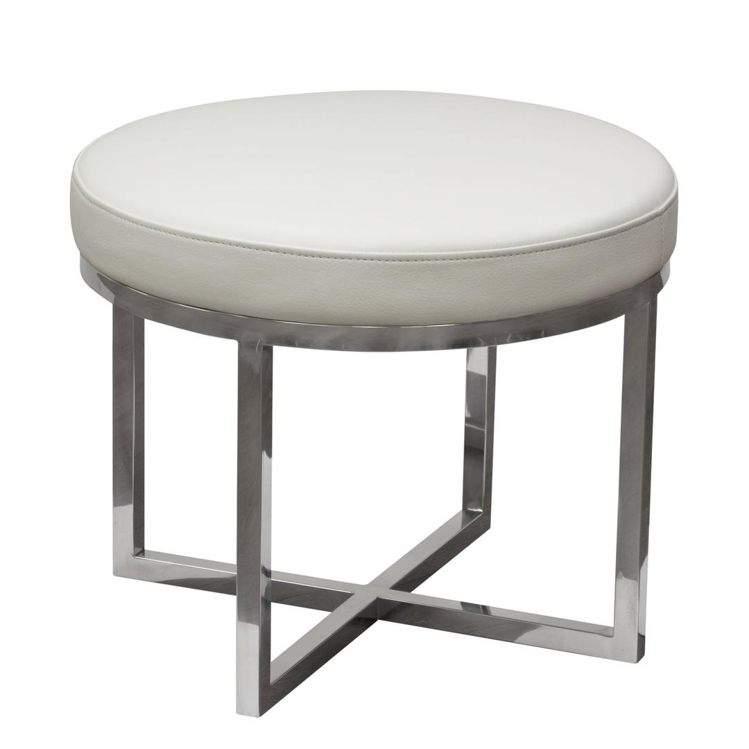 Leather Upholstered Round Accent Stool With Cross Metal Legs White An English Elm