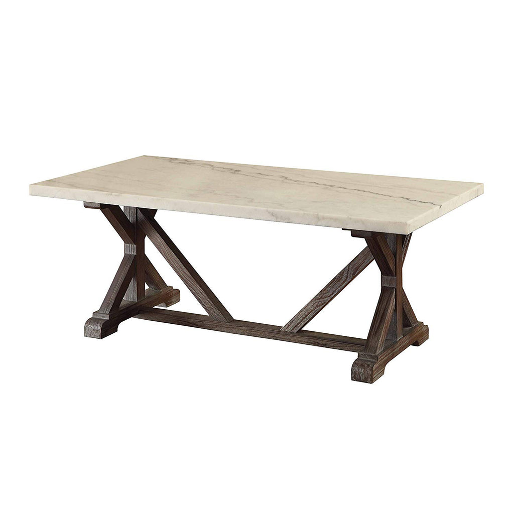 Marble Rectangle Shaped Coffee Table With Wooden Trestle Base White A English Elm