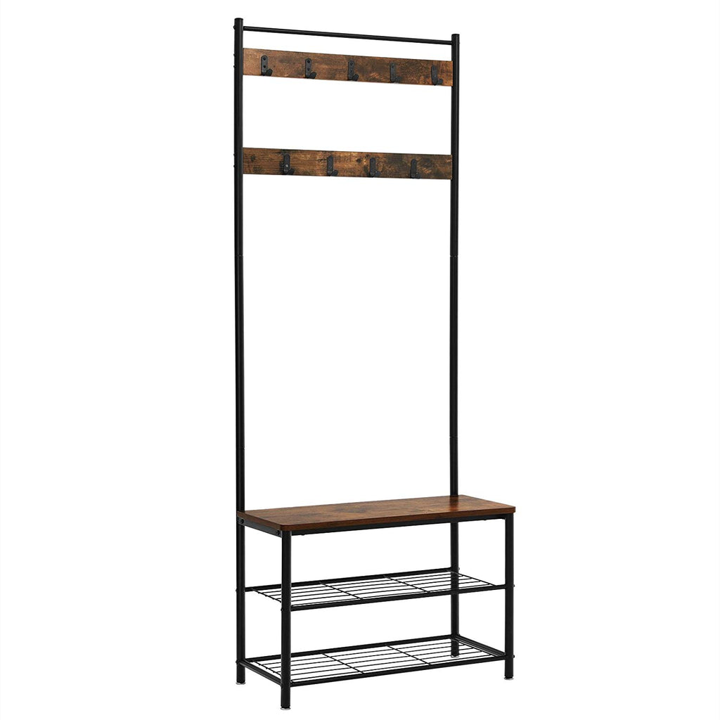 Picture of: Industrial Wood And Metal Coat Rack With Shoe Bench Black And Brown English Elm