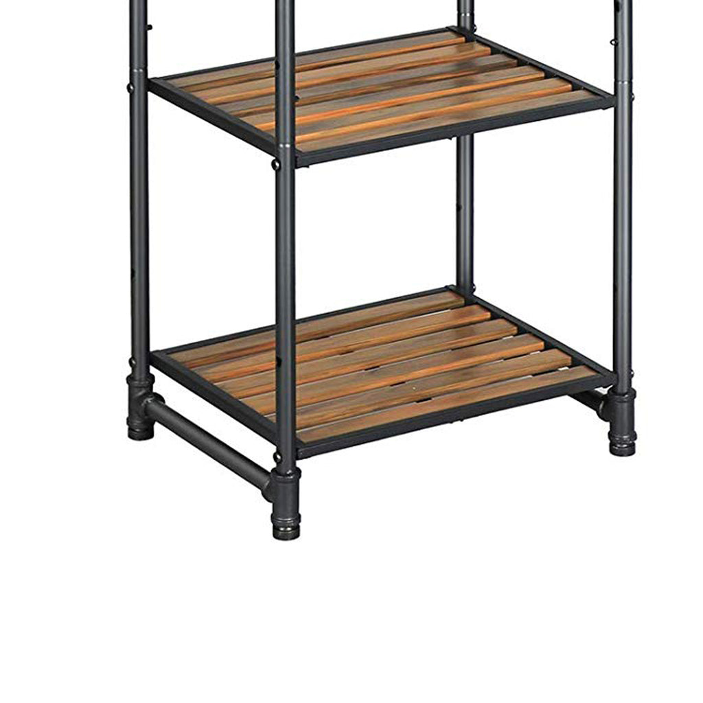 5 Tier Metal Frame Plant Stand With Adjustable Shelves Brown And Blac English Elm