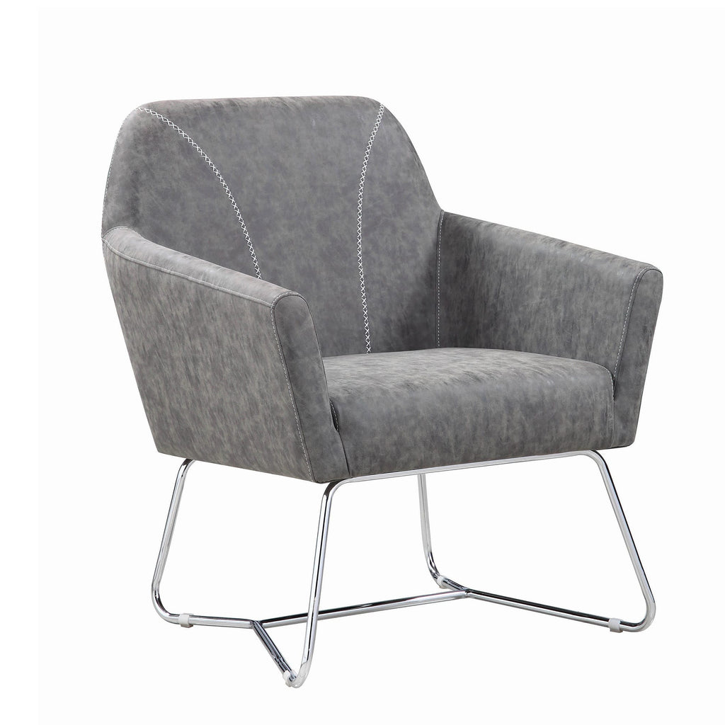 Picture of: Faux Leather Upholstered Accent Chair With Metal Legs Gray And Silver English Elm