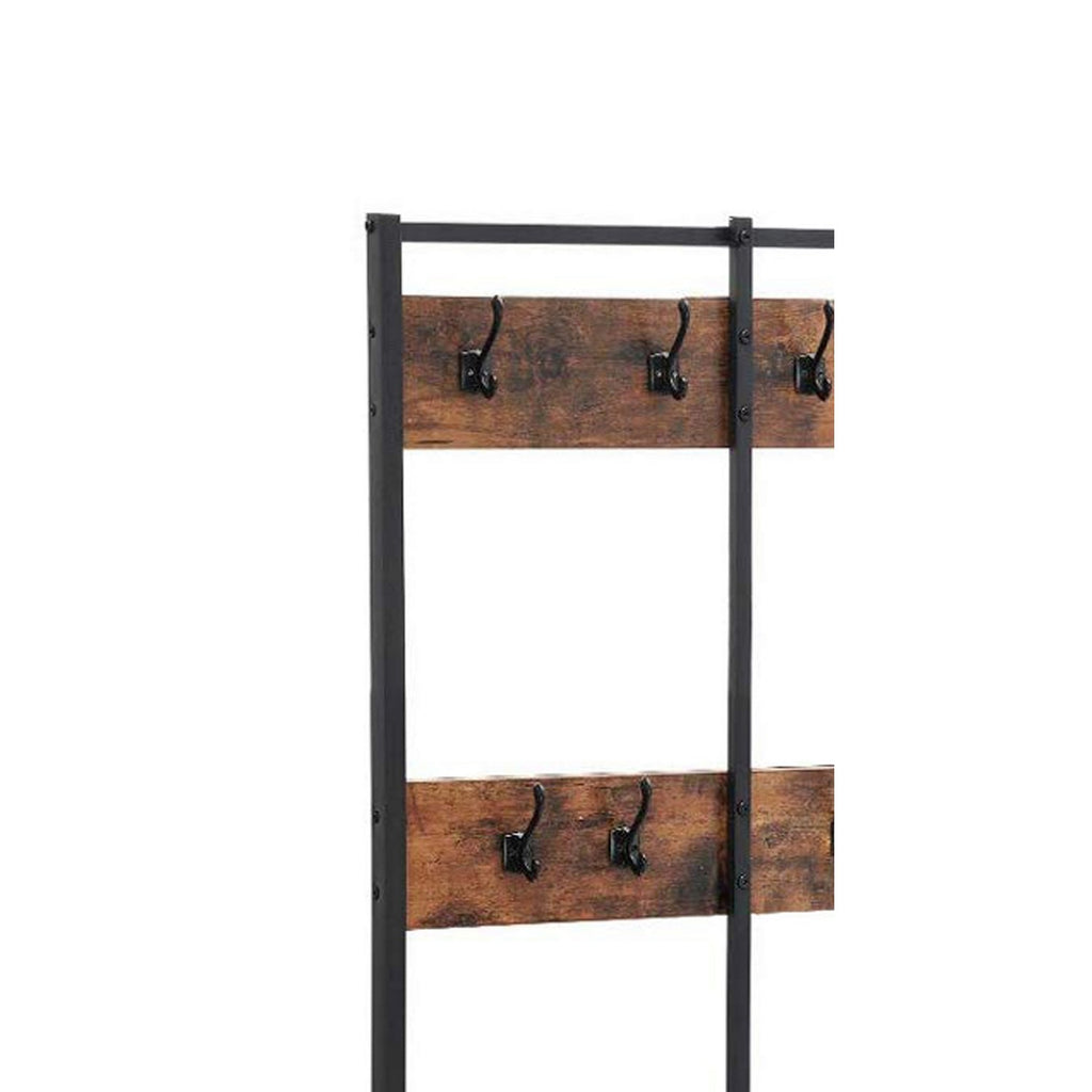 Wood And Metal Hall Tree With 12 Hooks And 3 Open Shelves Brown And B English Elm