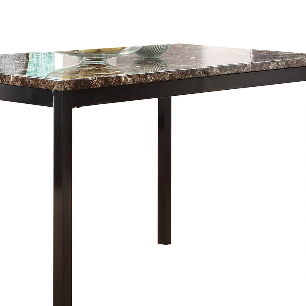 Faux Marble Top Dining Table With Metal Straight Legs Brown And Black English Elm