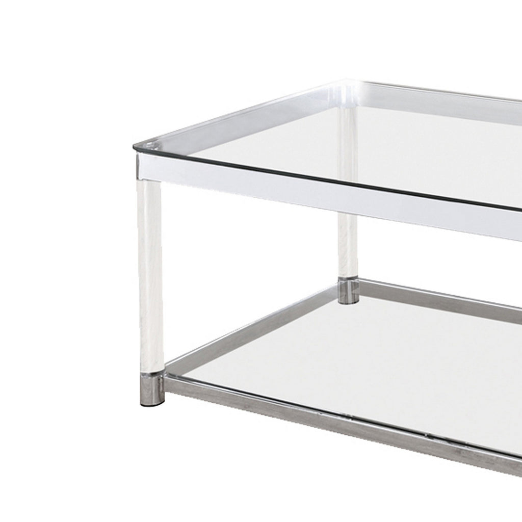 Acrylic Frame Coffee Table With Glass Top And Bottom Shelf Clear And C English Elm