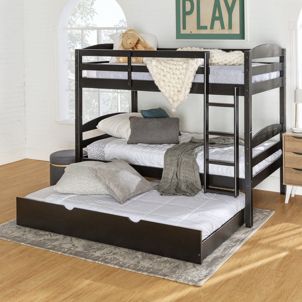 Solid Wood Twin Over Twin Bunk Bed Storage Trundle Bed English Elm