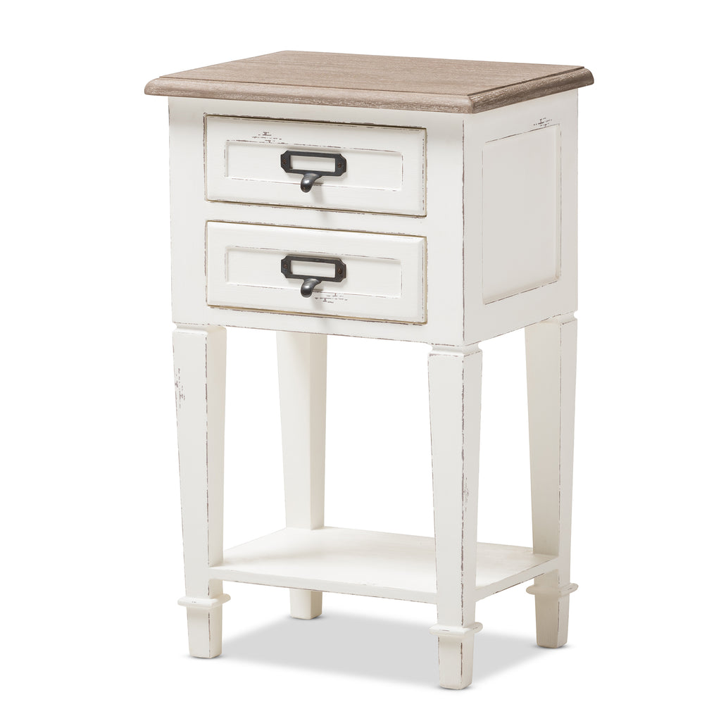 Dauphine Provincial Style Weathered Oak And White Wash Distressed Nigh English Elm