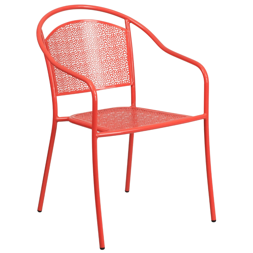 Commercial Grade Indoor-Outdoor Steel Patio Arm Chair with Round Back