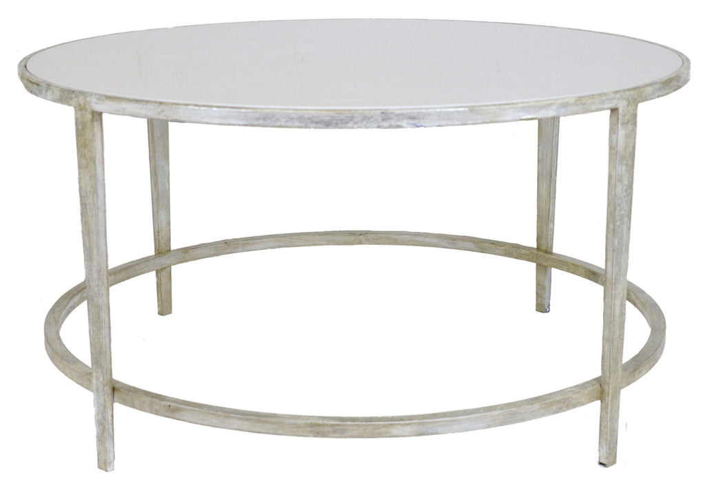 Ct324 Silver Round Coffee Table With White Stone Top English Elm