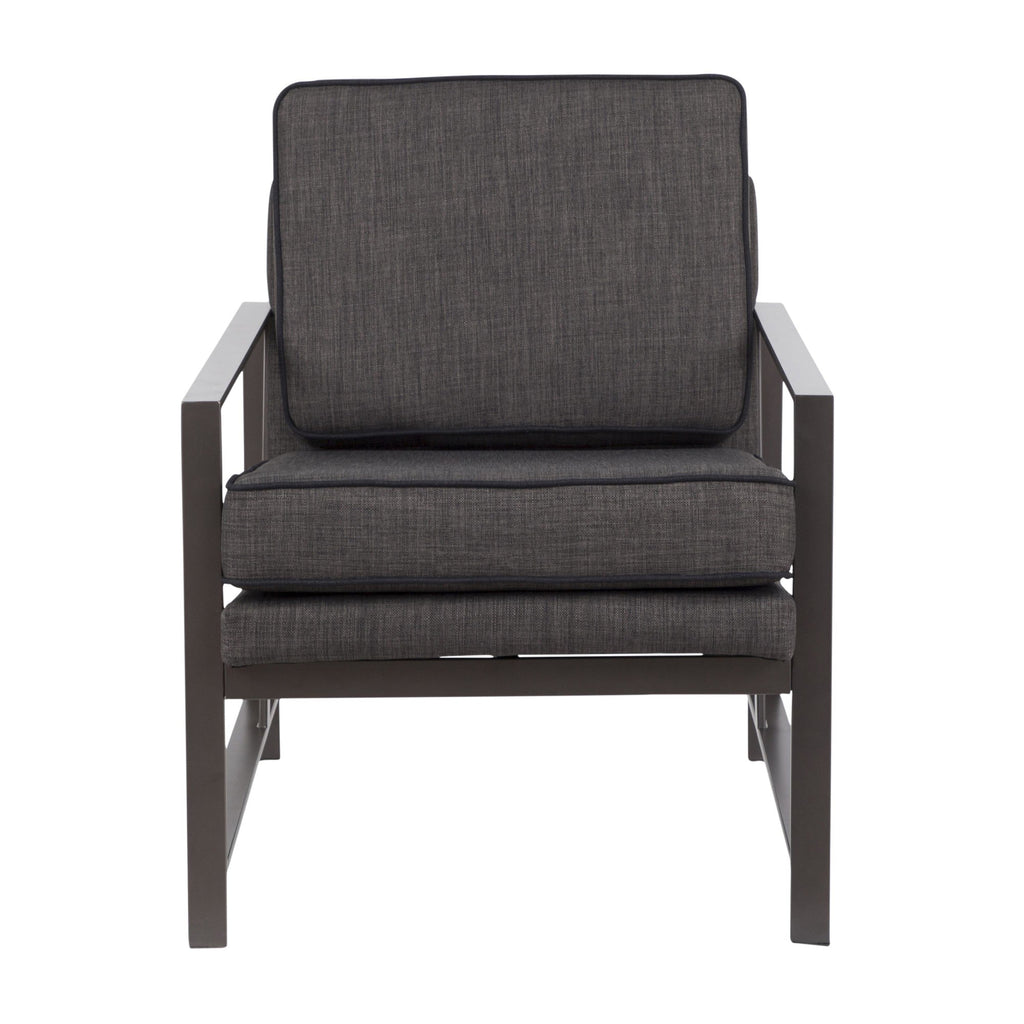 Franklin Contemporary Arm Chair in Antique Metal with Grey Fabric and Charcoal Piping by LumiSource