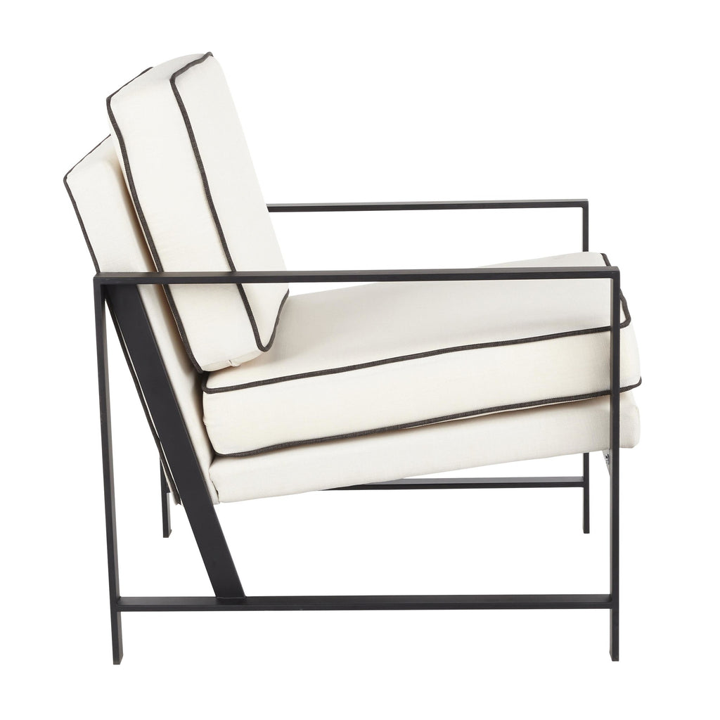 Franklin Contemporary Arm Chair in Black Metal with Cream Fabric and Charcoal Piping by LumiSource