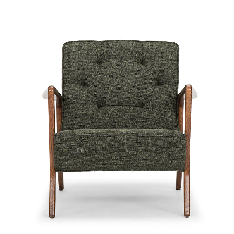 Eloise Hunter Green Tweed Fabric Occasional Chair