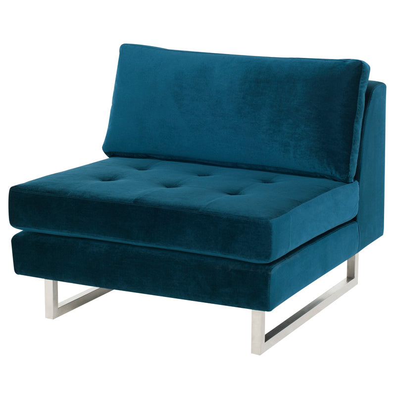 Janis Midnight Blue Fabric Seat Armless Sofa