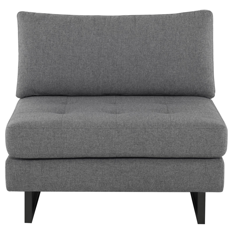 Janis Shale Grey Fabric Seat Armless Sofa