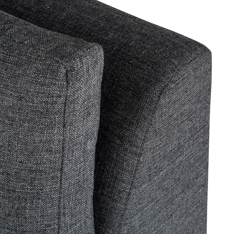 Janis Dark Grey Tweed Fabric Seat Armless Sofa