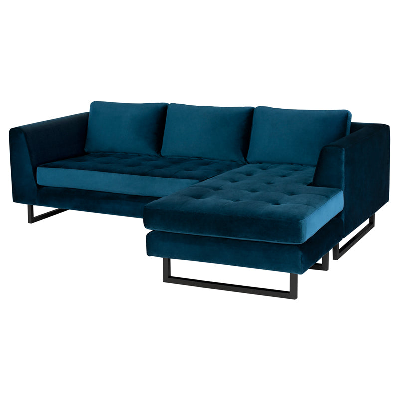 Matthew Midnight Blue Fabric Sectional Sofa
