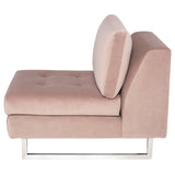 Janis Blush Fabric Seat Armless Sofa