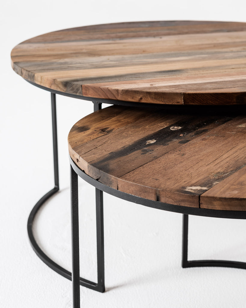 Barca Nesting Coffee Table Set In Recycled Boat Wood Iron With Natur English Elm