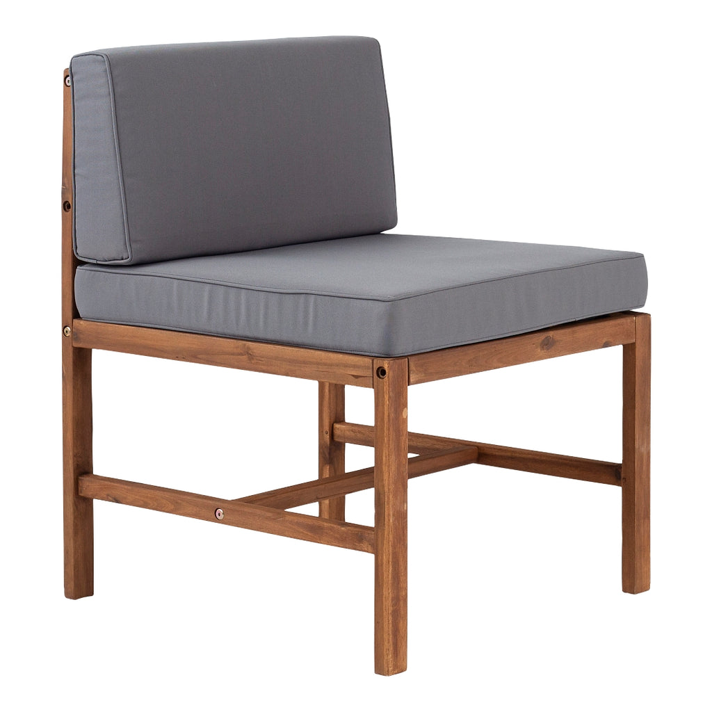 Walker Edison Modular Outdoor Acacia Armless Chair