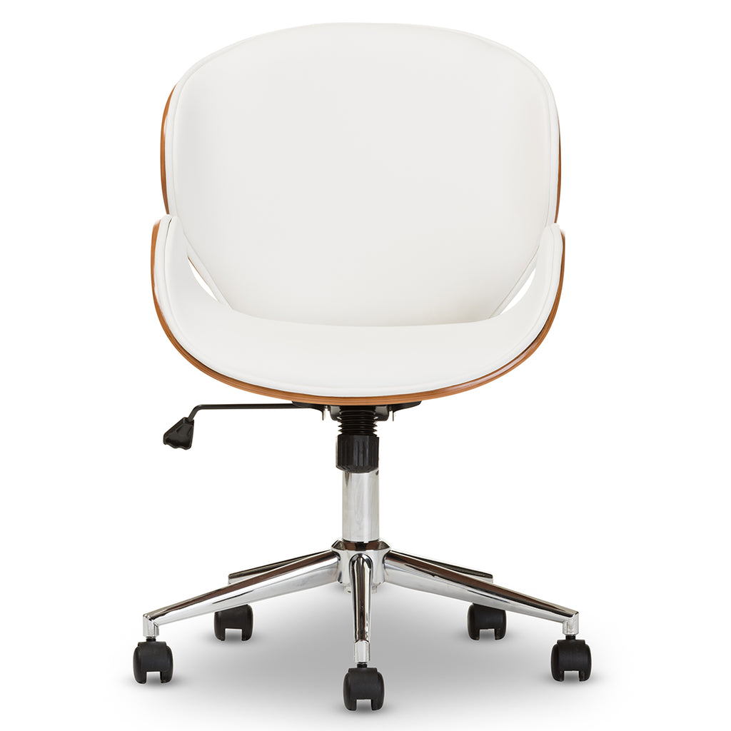 Bruce Modern And Contemporary White And Walnut Office Chair English Elm