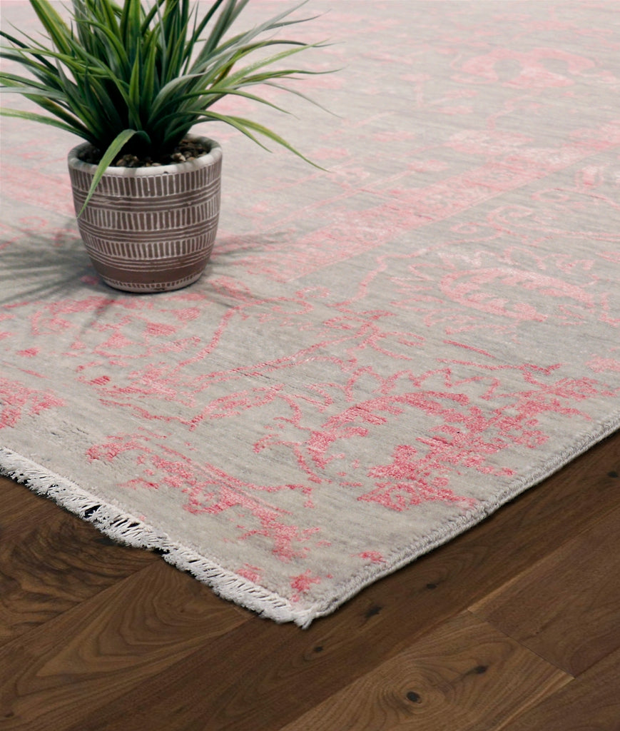 "Pasargad Home Transitional Collection Hand-Knotted Silk and Wool Area Rug- 9'11"" X 14' 0"""