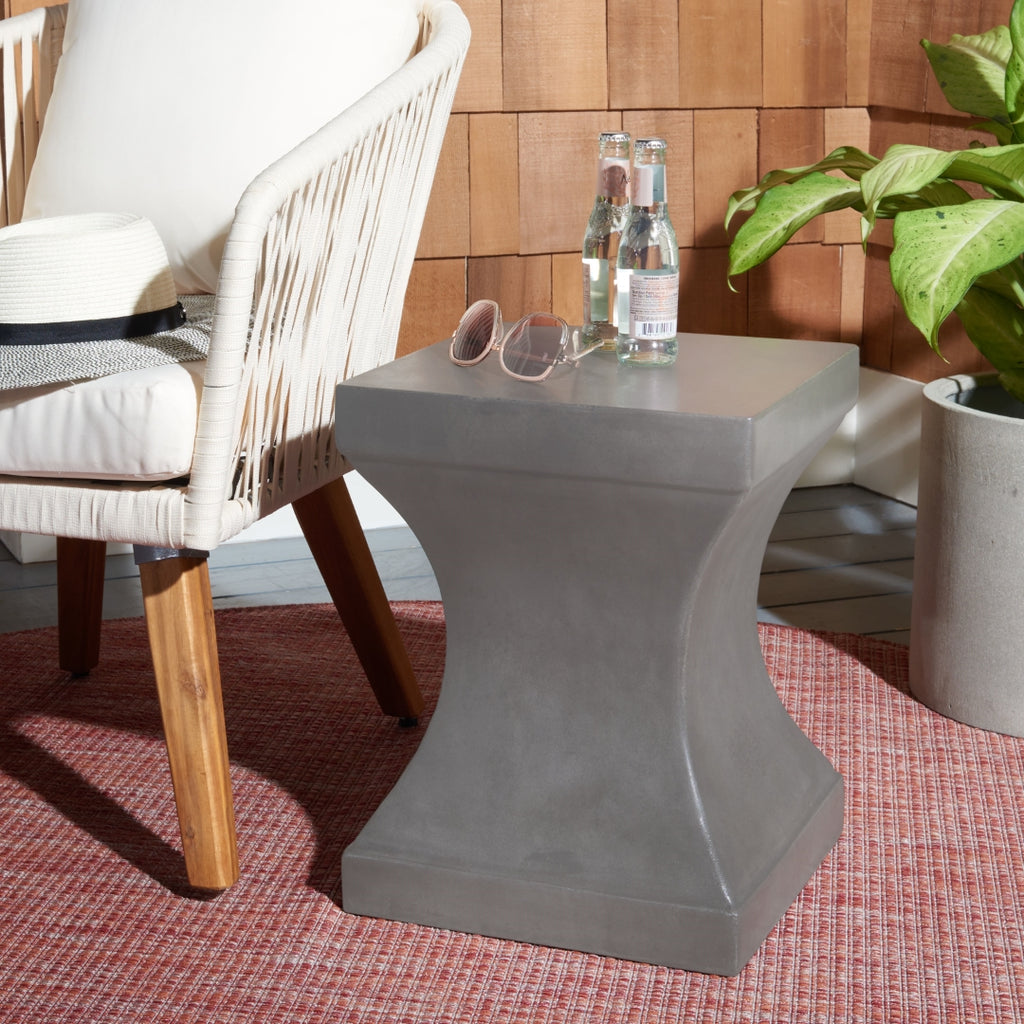 Curby Indoor/Outdoor Modern Concrete 17.7 Inch H Accent Table