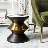 Safavieh Azizi Side Table Stone Top White Black Gold Metal Electroplated MDF Iron Steel ACC3202A 889048445994