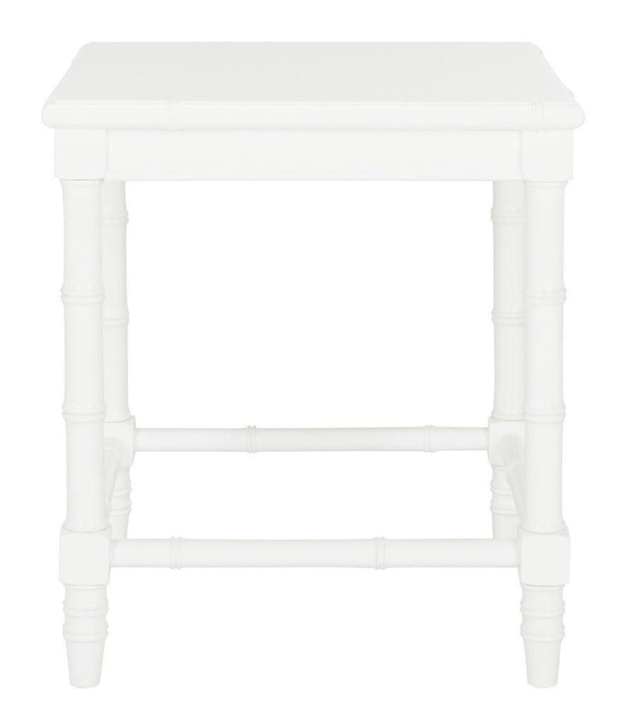 "Safavieh Liviah Accent Table Modern Coastal 22""H Bamboo White Wood NC Coating MDF ACC3500A 889048339620"