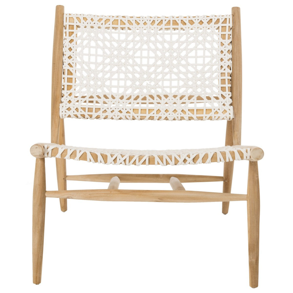 Safavieh Bandelier Accent Chair Leather Weave Off White Natural Wood Teak 7 MM Cowhide ACH1000A 889048453456