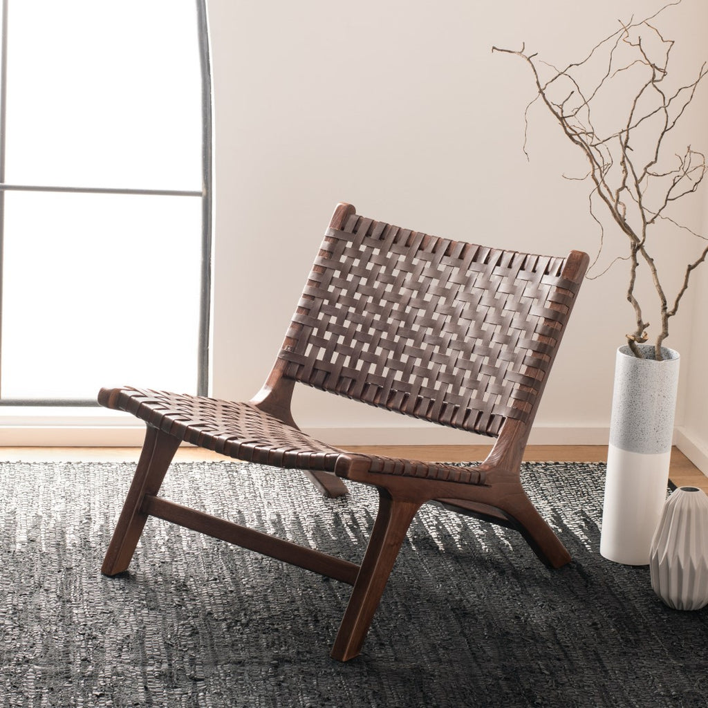 Safavieh Luna Accent Chair in Brown and Brown ACH1002C 889048745698